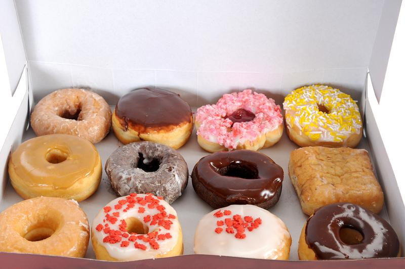 Photograph of a box of donuts