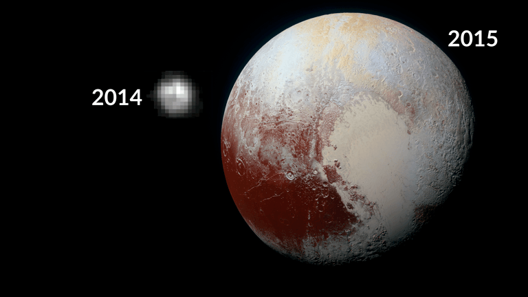 Photos of Pluto from 1996 and 2015